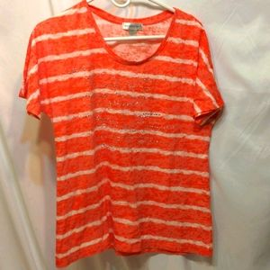 Christopher & Banks orange and white t-shirt